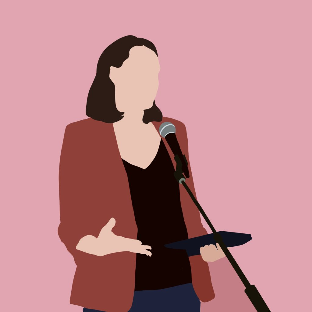 illustration of Lauren standing at a microphone